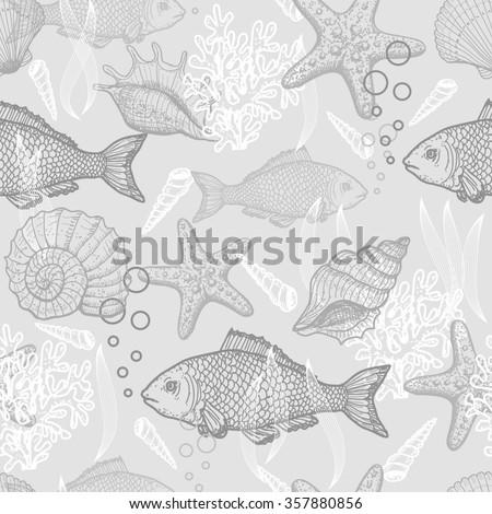Sea seamless pattern. Original hand drawn illustration in vintage style - stock photo