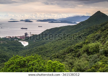 Sea seen from Victoria Peak, Hong Kong during sunset - stock photo