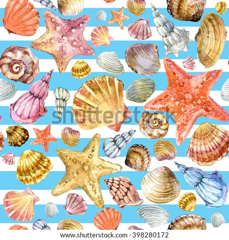 sea shell. sea shell watercolor pattern. Beach Seashell texture background.