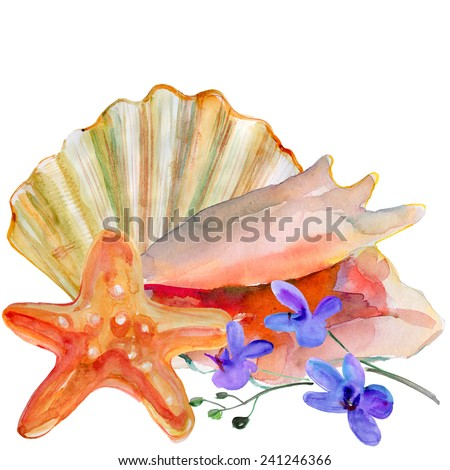 Sea shell, sea star and orchid flowers on the beach, watercolor painting - stock photo
