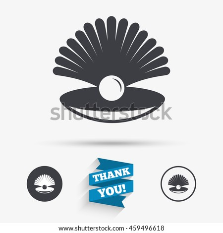 Sea Shell Pearl Sign Icon Conch Stock Illustration 459496618