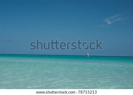 Sea shore - blue background. Beach resort - stock photo