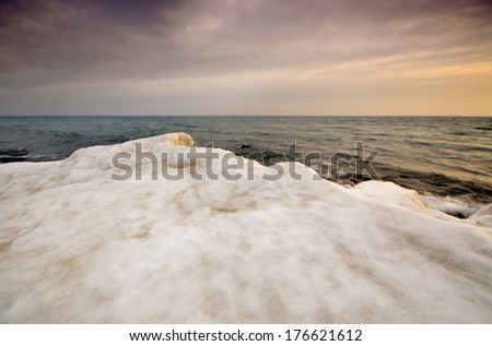 Sea shore during the winter - stock photo