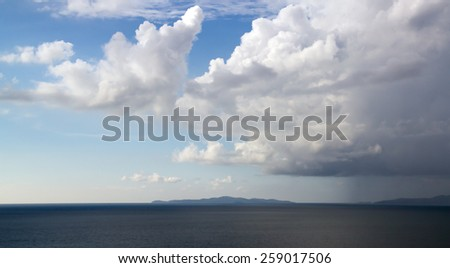 Sea, Sky background on sunset. Nature composition