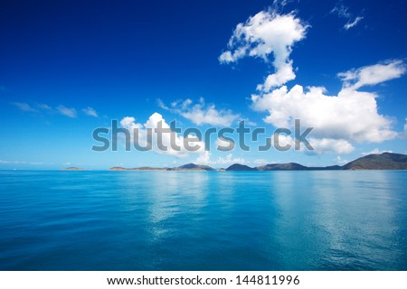 Sea sky cloud and islands - stock photo