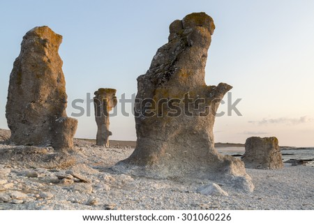 Sea Stacks at Langhammar, Gotland in Sweden at Sunset.