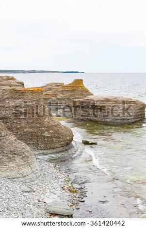 Sea stacks at the coast - stock photo