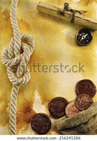 Sea still life with nautical objects on old paper background, with grunge texture effect, blank with copy space - stock photo