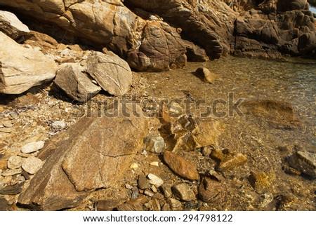 Sea stone and water.Island Skiathos Greece. Luxury Island-Skiathos.Greece island.Paradise beach.Greece traveling. - stock photo
