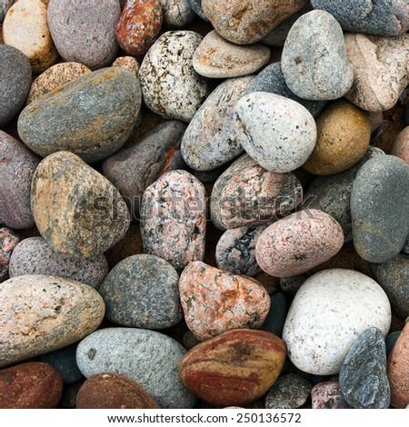 Sea stones background  texture, garden pile of pebbles - stock photo