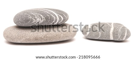 sea stones isolated on white background - stock photo
