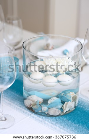 sea style table setting for dinner - stock photo