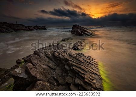 Sea sunrise at the Black Sea coast near Sinemoretz, Bulgaria - stock photo