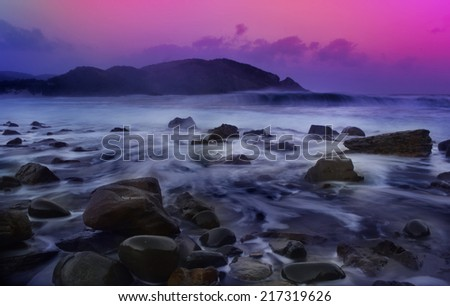 sea sunset and rocks