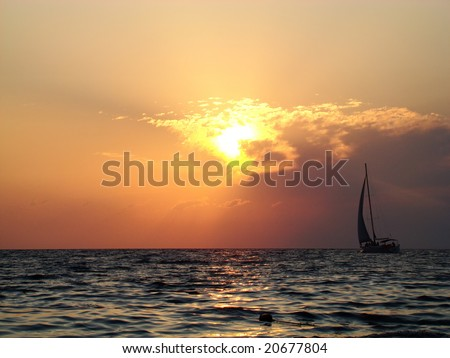 sea, sunset and yacht, romantic journey