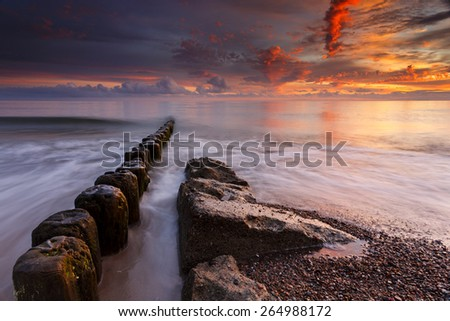 Sea Sunset in north Poland/ Baltic Sea Sunset - stock photo