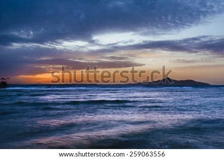sea sunset. Sunset over sea. - stock photo