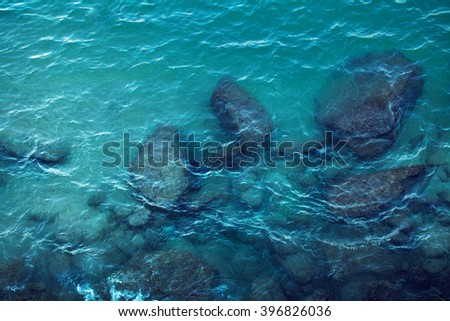 Sea surface aerial view - stock photo