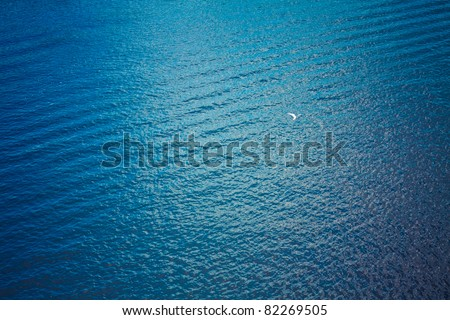 Sea surface with waves. View from plane - stock photo