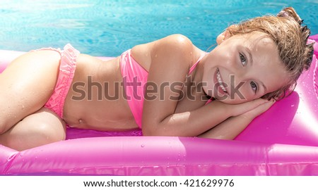 sea swim pool girl - stock photo