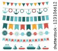 sea theme garland. Raster version - stock photo