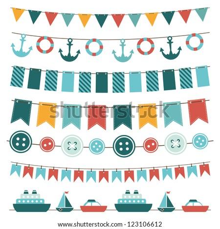 sea theme garland. Raster version - stock photo