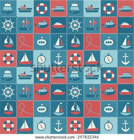 sea transport patchwork - stock photo