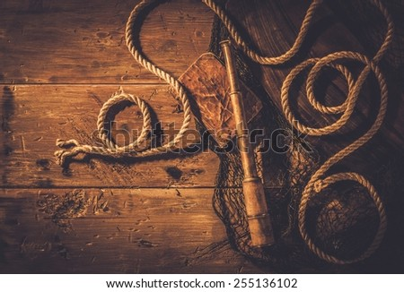 Sea travelling concept in wooden interior  - stock photo