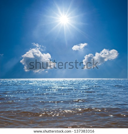 sea under a sparkle sun - stock photo