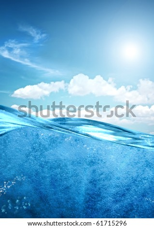 Sea underwater scene with sky
