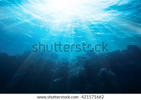 Sea underwater view with sun light. Beauty nature background - stock photo