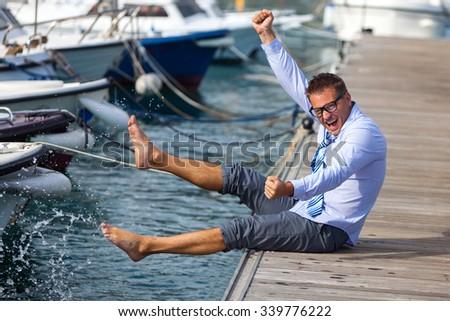 Sea vacation of office clerk - stock photo