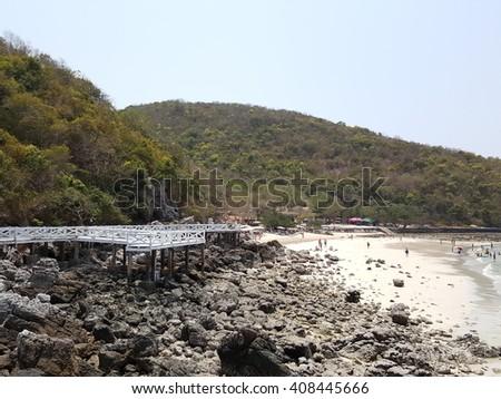 Sea View and White wooden Bridge in koh lan ,Thailand - stock photo