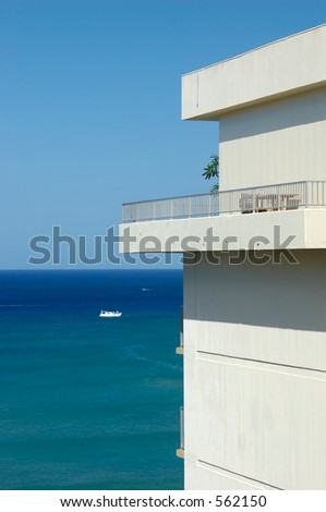 sea view apartment overlooking Waikiki - stock photo