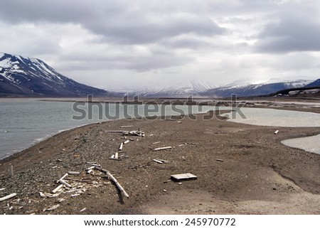 Sea View Arctic Circle in Spitsbergen, Svalbard, Norway.  - stock photo