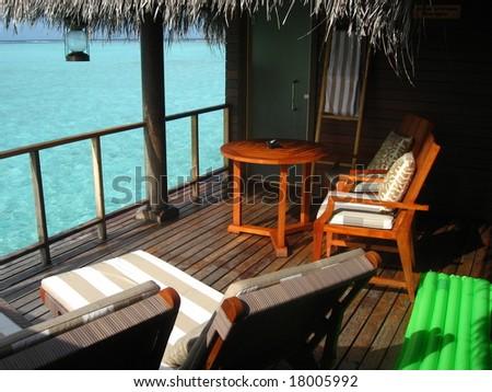 Sea View Balcony Over Water - stock photo