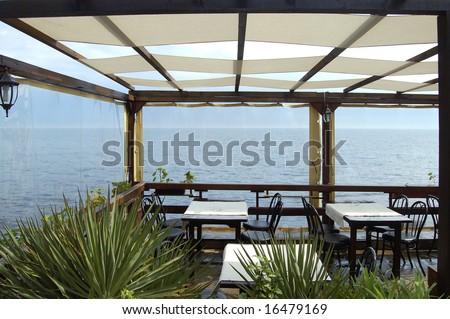 sea view from cafe-restaurant terrace - stock photo
