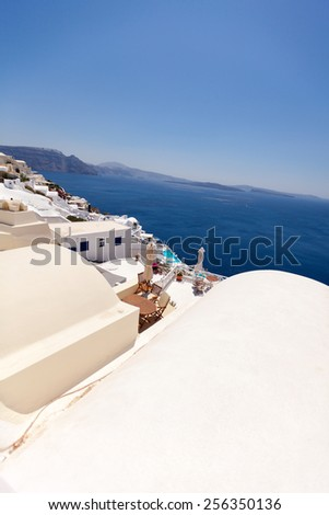 Sea view from the roof of the hotel, Santorini island, Greece - stock photo