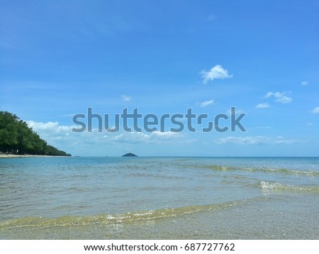 Sea view from tropical beach with sunny sky, at Thailand