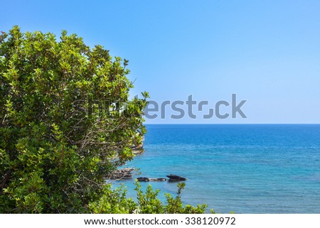 Sea view in summer of mediterranean sea with crystal blue water