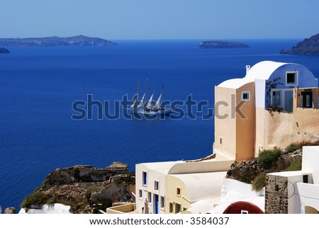 Sea view on Santorini island, Greece - stock photo