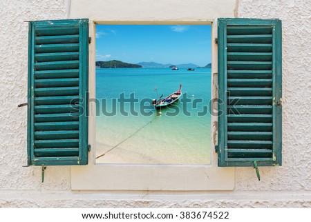 Sea view through the open window in Italy - stock photo