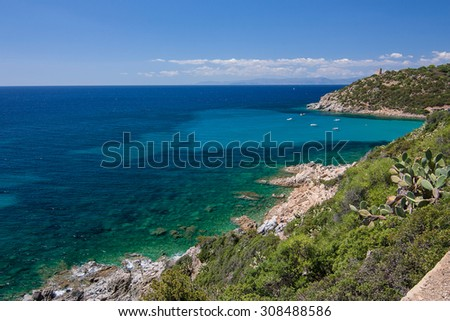 Sea view with panorama of Cagliari. Location Cala Regina - the Beach in South-East of Sardinia.