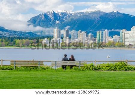 Sea walk at the Kitsilano Beach Park at Downtown of Vancouver, Canada. - stock photo