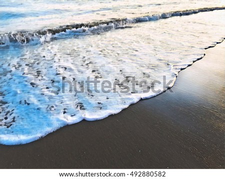 Sea wave over sand beach digital illustration. Oceanic water tide on seashore. Sunset seaside minimal image. Romantic picture for tropical summer, exotic travel, sea holiday banner. Seaside wedding