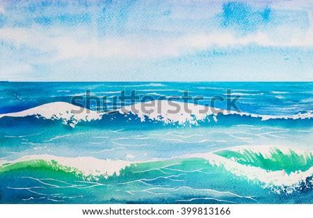 sea wave watercolor - stock photo