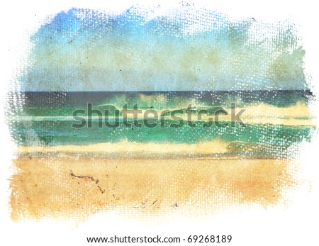 sea waves and blue sky in a style of a old painting on grunge canvas with rough edges. - stock photo