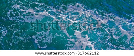 sea waves, foam, top view - stock photo