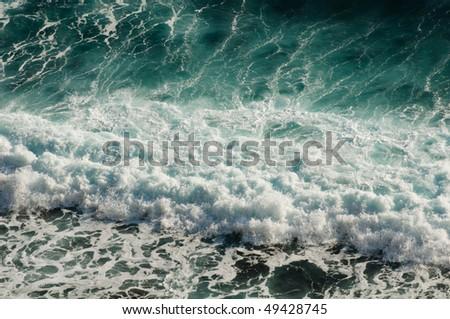 sea waves high angle - stock photo
