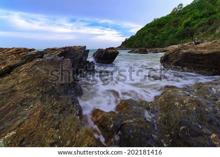 Sea waves, Laem Ya Pier at Kao Laem Ya-Moo Koh Samed National Park ,east Thailand